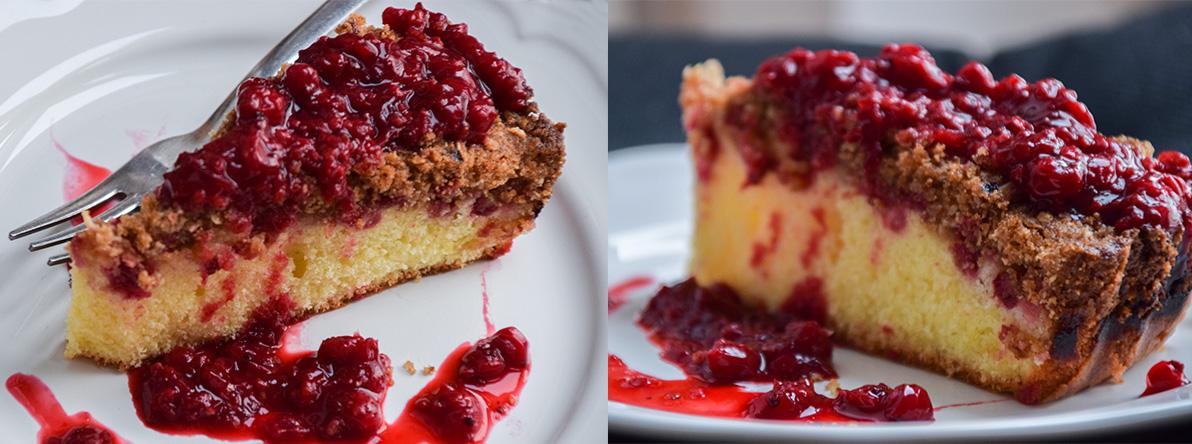 Lyžičkový koláč s ríbezlovou omáčkou a posýpkou